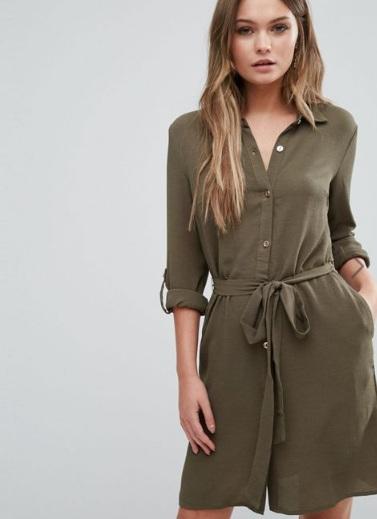 Khaki Shirt Dress, Asos