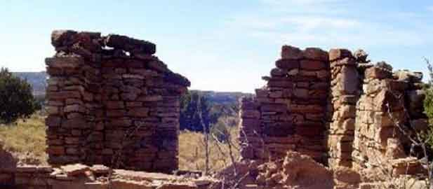 ruined walls along the Pecos