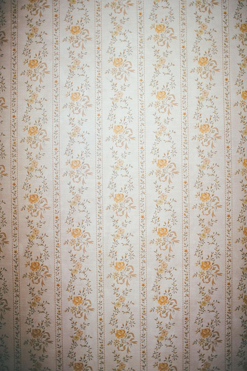 vintage floral wallpaper in older home closet