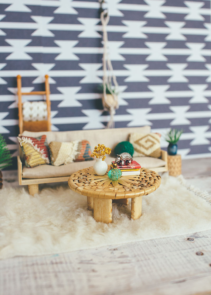 Handmade Dollhouse Coffee Table in Dollhouse Living Room