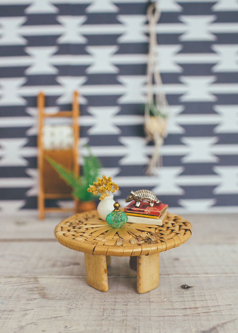 Coaster and wooden bead dollhouse coffee table