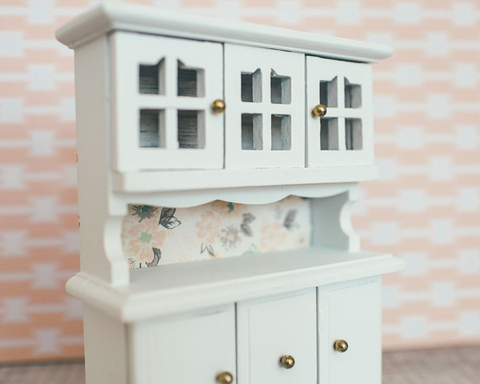 Dollhouse Furniture Hutch with Floral Scrapbook Paper