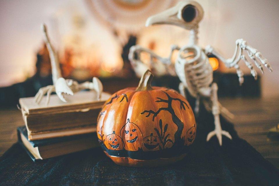 Carved Wooden Halloween Pumpkin