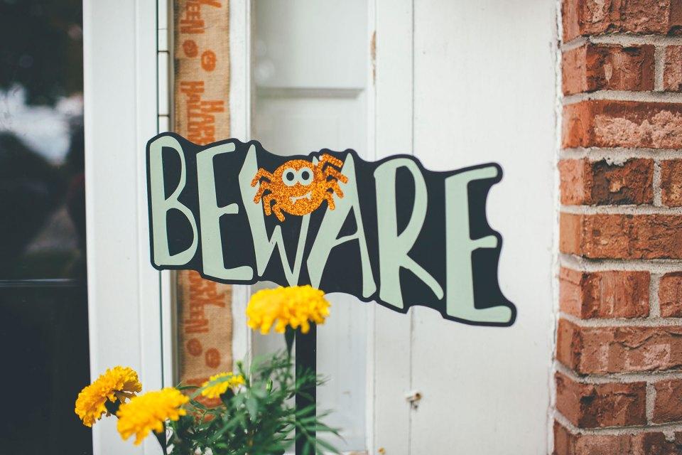 Outdoor Beware Halloween Sign