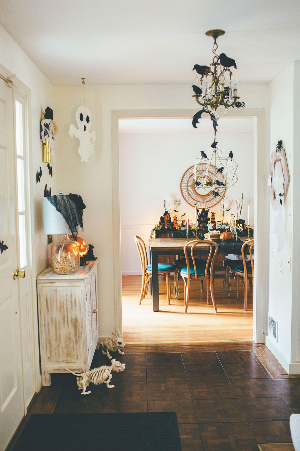 Traditional Colonial Entryway Decorated for Halloween