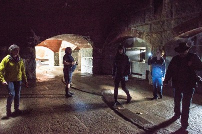 Collaborators exploring the space at Fort Knox in Prospect, Maine. Photo credit: Jim Winters