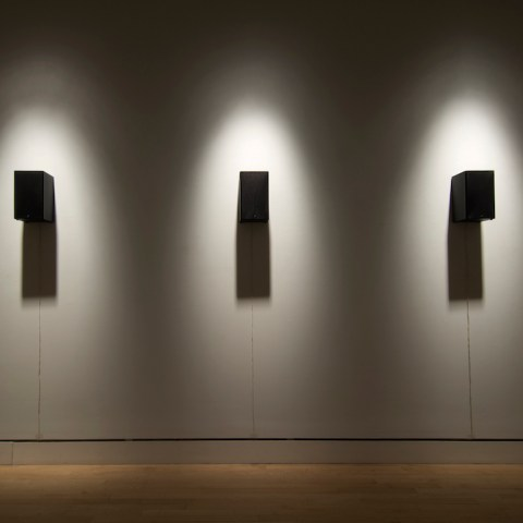 Sound installation, speakers on a wall in a gallery