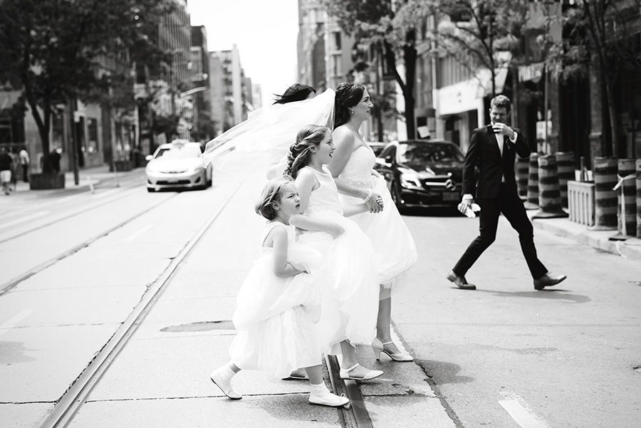 Bride walking with her wedding party