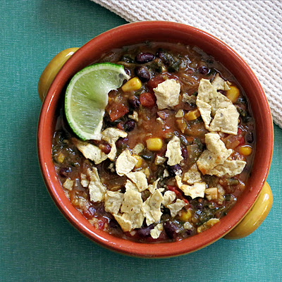 vegetarian black bean tortilla soup with corn that is vegan and gluten free