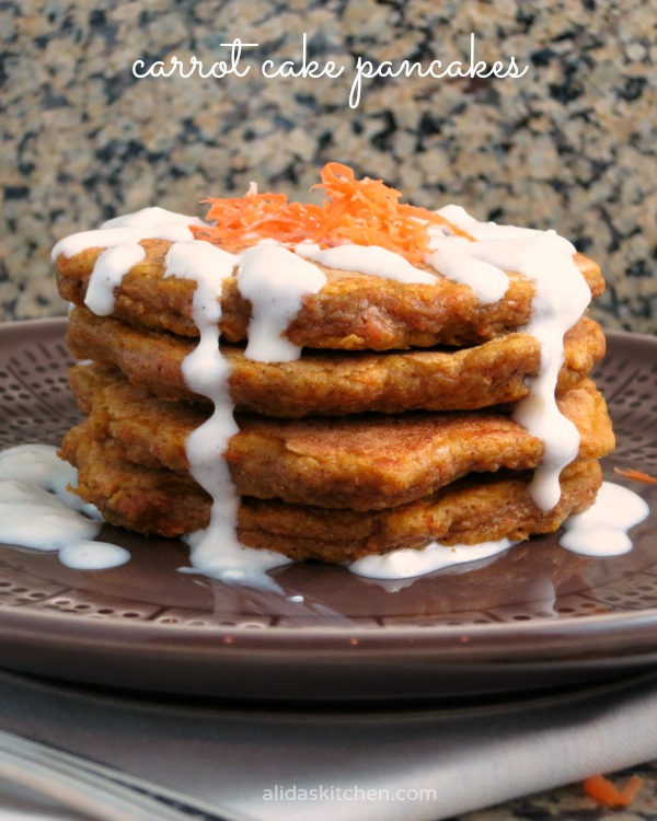 Carrot Cake Pancakes | alidaskitchen.com #recipes #pancakes #carrotcake #healthy #easter #breakfast