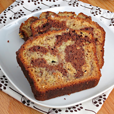healthy buttermilk chocolate banana swirl bread
