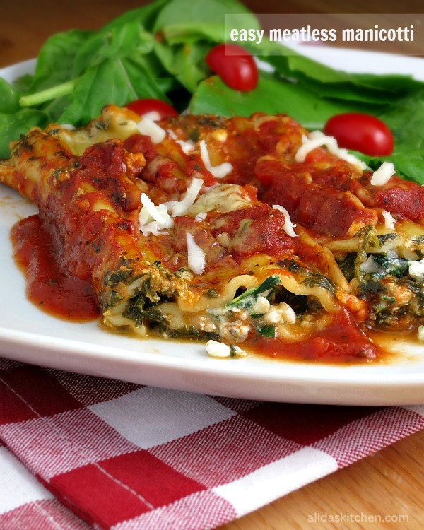 Easy Meatless Manicotti | alidaskitchen.com