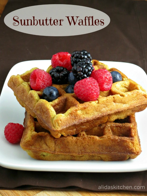Sunbutter Waffles - healthy whole wheat, buttermilk waffles made nut-free with sunflower seed butter.  Kids LOVE these!