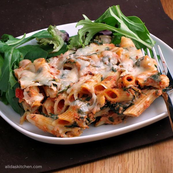 Three Cheese Spinach Pasta Bake | alidaskitchen.com #recipes #ShareTheTable #ad