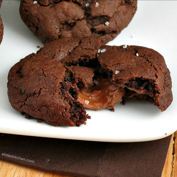 Salted Caramel Chocolate Cookies | alidaskitchen.com #recipes #cookies #SundaySupper