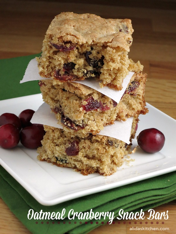 Oatmeal Cranberry Snack Bars | alidaskitchen.com