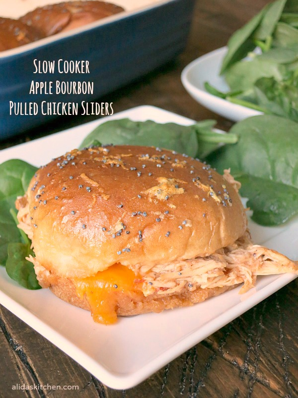 Slow Cooker Apple Bourbon Pulled Chicken Sliders | alidaskitchen.com