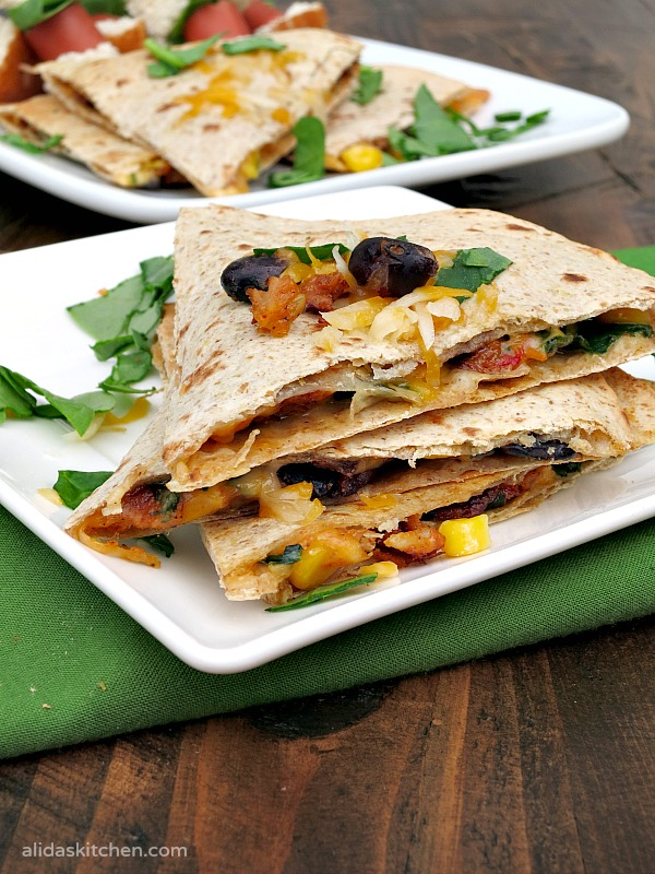Spicy Black Bean Quesadillas | alidaskitchen.com