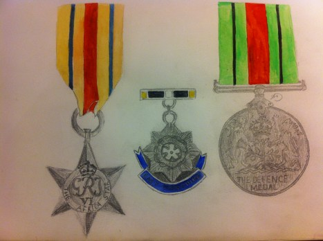 Every Day in May 2014 #18 Draw something that needs to be polished - Great Grandad Arthur's medals from World War II