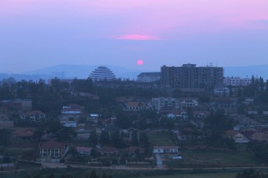 Sunset over Kigali from the hotel room, Rwanda