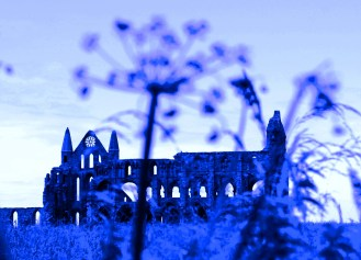 Whitby Abbey in Blue, North Yorkshire, England
