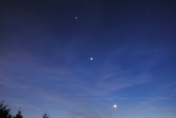The Moon, Venus and Jupiter over Mooresville, NC #2