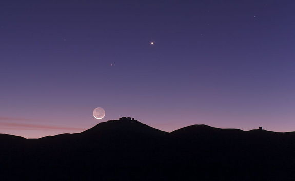 Moon with Earthshine over Paranal Observatory