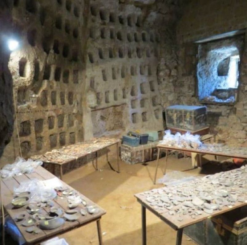 Etruscan Pyramid columbarium, used as a working lab, and filled with artifacts. Credit: Daniel George, Jr./Popular Archaeology.