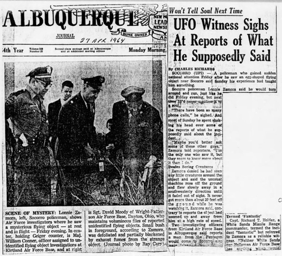 Newspaper articles on Zamora's sighting. (Credit: U.S. Air Force Project Blue Book)