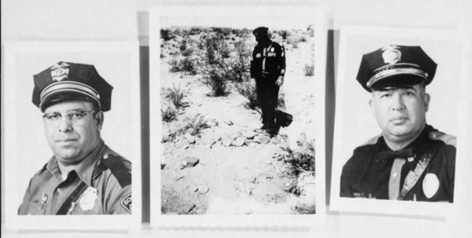 Lonnie Zamora (left), the landing site, and Sergeant Chavez. (Credit: U.S. Air Force Project Blue Book)