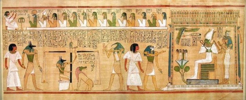 """A papyrus scroll showing """"The Last Judgement of Hunefer"""", a scribe in Thebes from the 19th Dynasty. This scroll can be seen at the British Museum in London(Wikimedia Commons)"""