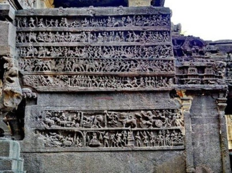 The intricate and detailed panels carved into the temple wall. Credit: Kartika Read more: http://www.ancient-origins.net/ancient-places-asia/kailash-temple-ellora-preserving-ancient-wisdom-mankind-001622#ixzz3bdFj8wju Follow us: @ancientorigins on Twitter | ancientoriginsweb on Facebook
