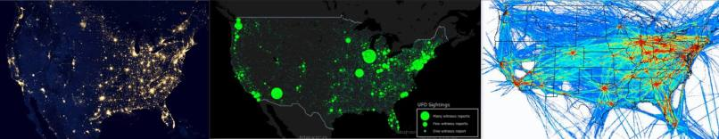 From let to right: N.America seen from orbit, UFO sightings since 1905, Density map of 24h of traffic (FAA, 2008).