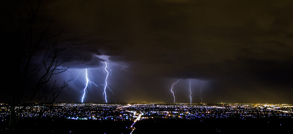 You better run, you better take cover. Lightning storm over Perth, WA.