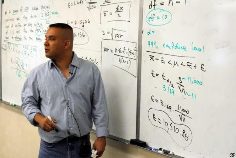 East Los Angeles College Math instructor Daniel Judge, teaches statistics at the East Los Angeles College in Los Angeles, Calif.