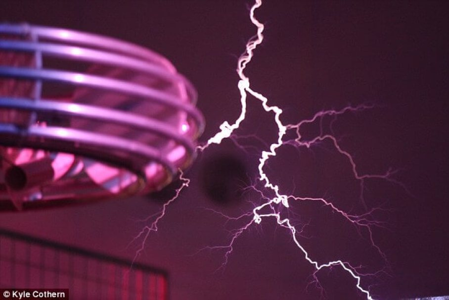 A Tesla coil (pictured) is an electrical resonant circuit that produces high-voltage, low-current, high frequency electricity. It features two main sets of windings - a primary, input, and a secondary output. The primary winding pushes the voltage through to the second winding, via a spark gap, and this creates the bolt of energy