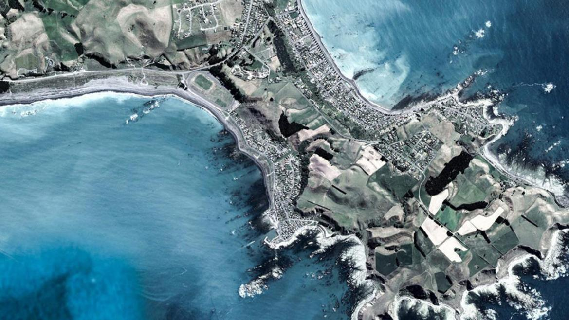 South Bay, New Zealand. Famed spot for whale watching (Credit: Google Earth)