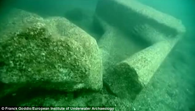Items including 16ft sculptures, gold coins and giant tablets are among some of the objects recovered from the ancient port city