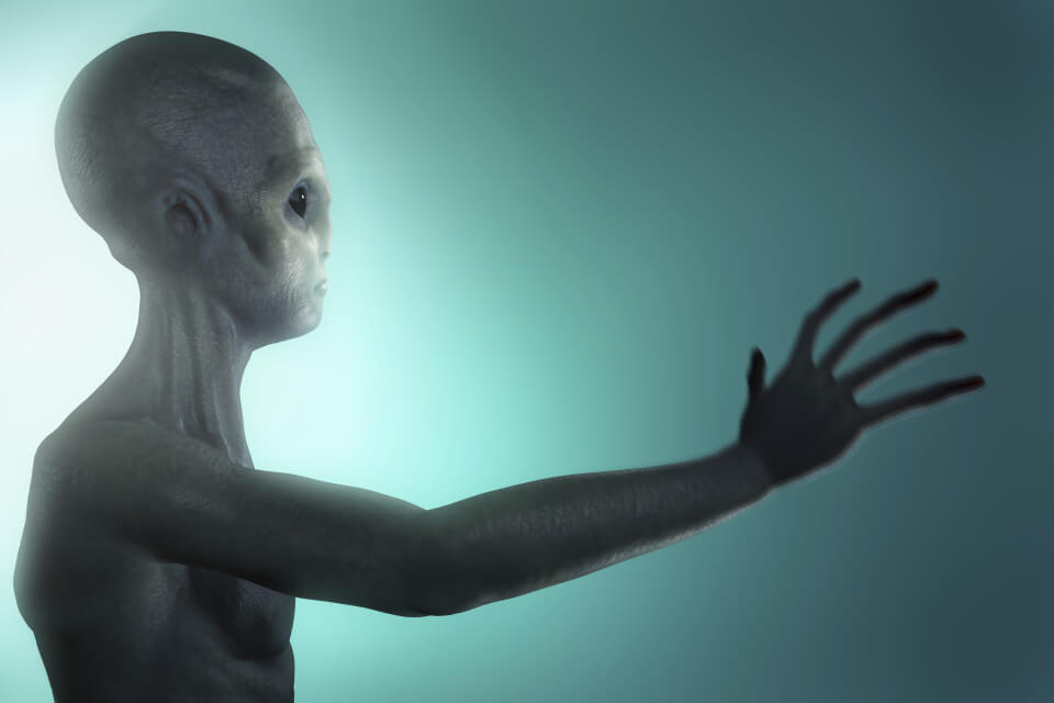 Conceptual visualization of an alien or extraterrestrial life.