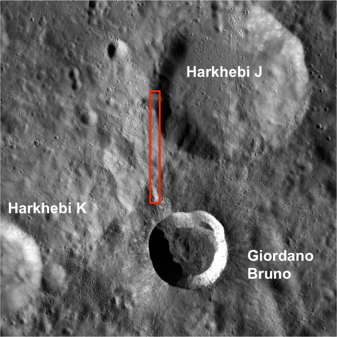 This NASA photo clearly shows the sharply defined Giodano Bruno crater between to much older neighbors.