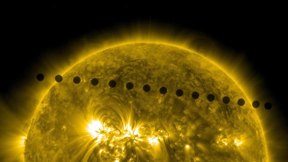 On June 5-6 2012, NASA's Solar Dynamics Observatory, or SDO, collected images of one of the rarest predictable solar events: the transit of Venus across the face of the sun. This event happens in pairs eight years apart that are separated from each other by 105 or 121 years. The last transit was in 2004 and the next will not happen until 2117. Credit: NASA/SDO, AIA
