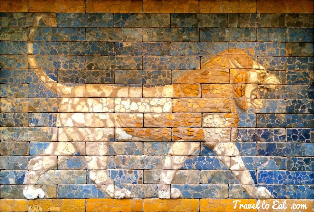 Lion reconstructed panel from Nebuchadnezzar's throne room on display at the Vorderasiatisches Museum, Berlin. Pacing lions emphasized the power and might of the Babylonian king. © Vorderasiatisches Museum – SMB, photograph by Olaf M. Teßmer