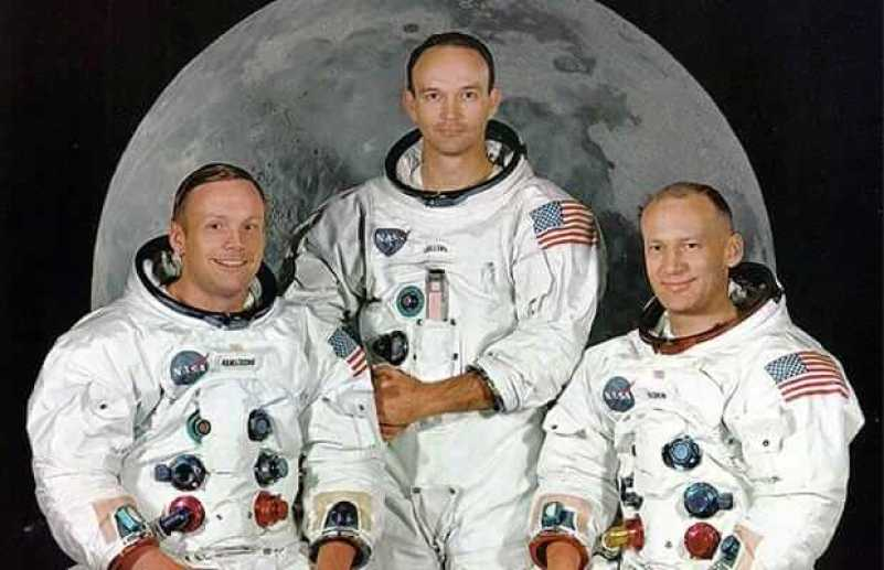 """The Apollo 11 astronauts (L-R) Neil Armstrong, Michael Collins and Edward """"Buzz"""" Aldrin"""