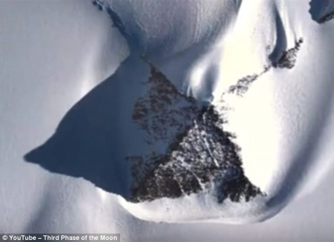 It is unclear what the structure could be, but it looks similar to a nunatak – a natural mountain peak that juts up above glaciers