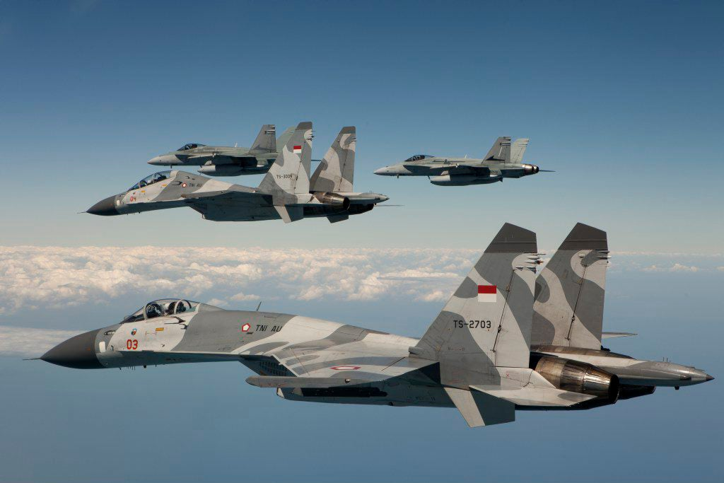 Australian F/A-18 Hornet Aircraft with Indonesian Air Force Sukhoi Su-30 & Su-27 Flanker aircraft. Picture: ADF