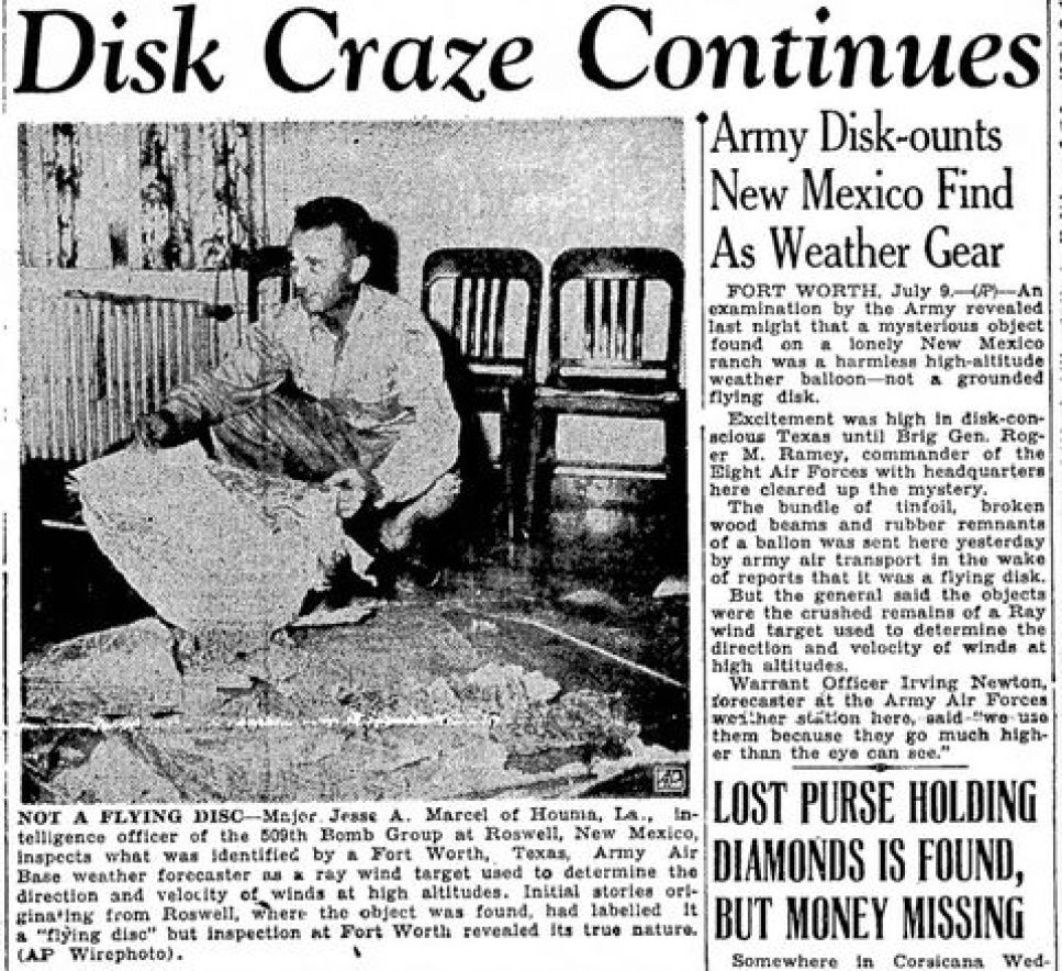 Jesse Marcel, who initially investigated the Roswell UFO site 1947.