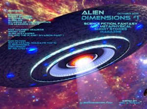 Full cover of the printed version of Alien Dimensions issue 1 October 2016