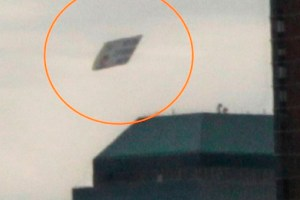 Strange triangle shaped object photographed in Manhattan