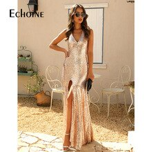Echoine Sexy Gold Sequin Deep V Dress Women Sleeveless Backless Club Party Dresses Lady Female High Split Long Bodycon Dress