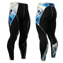 Fashion Skull Printed Running Tights Men Sports Leggings Sweat Pant Pro Skinny Fitness Compression Gym Fitness Athletic Trouser